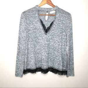 Altar'd State Lace Trim V Neck Long Sleeve Top NWT